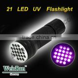 (120451) 2015 Factory 21 LED UV Flashlight With 3*AAA Dry Battery For Pet Urine Detector UV Flashlight 21led blacklight