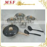 MSF-3989 12pcs stainless steel cookware set golden handles non stick coating in fry pan with nylon kitchen tools