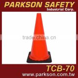 TAIWAN Top Grade PVC Black Base Road Construction / Traffic Cone 70cm UV Resistance TCB-70