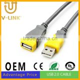 High quality data cable usb 2.0 , male to female usb extension cable for mobile phone charge
