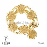 32483 - bracelet coins - Gold Plated Jewellery, Gold Plated Jewellery Manufacturer, CZ Cubic Zircon AAA
