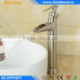 Beelee Unique Waterfall Brushed Nickel PVD Vanity Top Basin Sink Faucet Deck Mounted Mixer