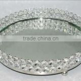 Exclusive Crystal & Mirror Round Decorative Tray