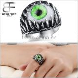 Men's Stainless Steel Gothic Skull Dragon Claw Evil Devil Eye Biker Ring vintage Silver green White Ancient