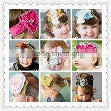 Most popular kids elastic cotton fabric flower headband,girls elastic flower headband,baby flower hair band