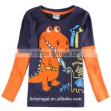(A6501) NOVA garment wholesale design fancy cotton clothing baby boy t shirt whith printed dinosaur 3d pattern winter wear