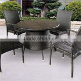 poly rattan cafe set with table - rattan shenzhen wicker furniture