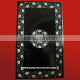 Black Marble Mother Of Pearl Inlay Dining Table Top Handcrafted