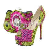 alibaba china printed high heel shoes and matching bags sets