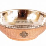 IndianArtVilla Handmade Copper Steel Dish Serving Kadai Bowl 800 ML - Serving Dish Restaurant Hotel Home Tableware