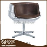 Metal brown leather egg round sofa chair