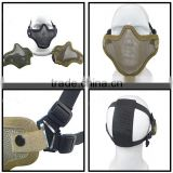 16Colors Double Belt Half Face Steel Metal Paintball Wargame Mask / Airsoft Tactical Mesh Mask / Skull Mask