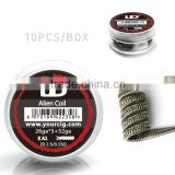 ud clapton coil wire SS 316L and kan A1 with Staggered fuse Twisted fuse Alien Staple staggered fuse clapton coil and Notch coil