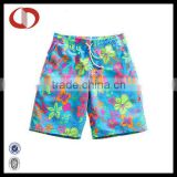 Flower printed mens swim beach shorts