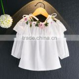 Children's 2017 girls flower embroidery long sleeve white shirt lace collar little girl strapless shirt tank top