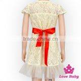 Popular Children Summer Skirt Short Sleeve Lace Floral Patterns Free Formal Lace Wedding Dress With Bow Blet