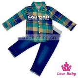 2017 Spring Boutique Outfits Plaid Shirt Label Collar Top Matching Jeans Pants Baby Boy Christening Clothing Suit Sets