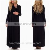 Wholesale Black Cowl Neck Long Sleeve Maternity Maxi Dresses for Ladies 2016