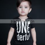 New Black Boy T Shirt With Letter Fancy Short Sleeve Boys Top Casual Children Wear BT90423-2