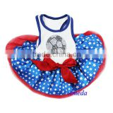 NEW Blue Star Red White Rhinestone World Cup Football Flag Australia USA Dogs Clothes Party Dress XS-L