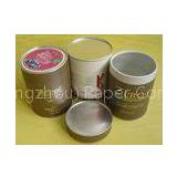 Complicated Food Grade Paper Tin Can / Tube Containers with Metal Bottom and Cap, PE Cap