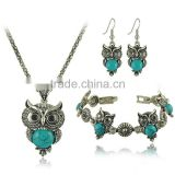 Top Green Red Blue Turquoise CZ Owl Necklace Bracelet Earrings Vintage Silver Jewelry Set