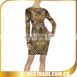 2015 women Tribal print dress bandage long sleeve with special markings
