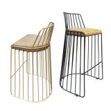 Nordic hollow creative vintage black wire chair, wrought iron chair designer chairs contracted cafe chairs, bar chairs