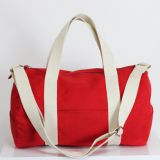 Red duffel bag full lined washable and durable long shoulder