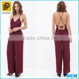 Newest style cross back design sexy women backless jumpsuit 2015