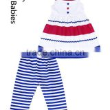Summer girls boutique outfits baby singlet cotton frock and stripe leggings                                                                                                         Supplier's Choice