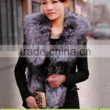 Ladies Beauty Fashionable Natural Silver Fox Fur & Pigskin Vest for Women,Leather Coat without Sleeveless