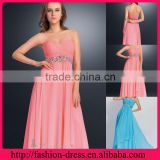 Elegant Pretty Sweetheart Strapless Neckline Floor Length Chiffon Empire Waistline Over Stunning Beaded New Arrival 2014 Gown