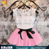 2016 New Arrival Baby Girl Clothes Summer Girls' Sets Lovely Girl Pink Chiffon Flower Girl Lace Dresses Suit Sets