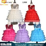 Whosale summer new arrival girl sequin dress princess cake chiffon flower dress sleeveless kids full dress