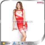 China Wholesale Deep V Colorful Stripped Bandage Dress