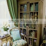 French /European style with Black flower or blue and white Fabric Solid OAK Carved Arm chair/Living chair (CH-923-OAK )