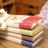 embroidery logo linen fabric cute diary planner