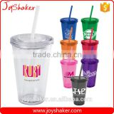 Food Grade Double Wall BPA Free Paper Insert Water Cup, AS Plastic Drink Water Cup With Straw