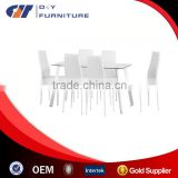 New Design Clear Glass Dining Table with White Chairs
