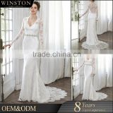 Best Quality elegant sexy long train illusion sleeve lace gown children long wedding dress