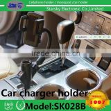 1017# mobile phone holder charger Effective Charger Cigarette Lighter,Car Holder With Dual USB Charger For Mobile Phone