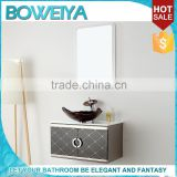 Foshan sanitary ware modern desgin wall mounting easy instal Stainless Steel bathroom vanity with glass wash basin