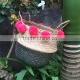 Seagrass belly basket,Hot selling Eco-friendly silver dipped seagrass belly handmade basket with pompoms