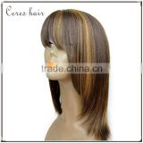 Ceres factory price 100% Brazilian remy hair wig F4/27 mixed blonde color lace front wig