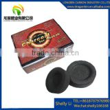 Black charcoal type hookah application Coconut shell material Round Shape easy light charcoal briquette