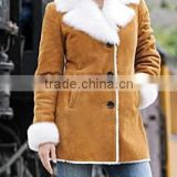 brown shearling leather coat for womens winter season