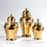 Hot sale gold color ceramic storage jars home accessories