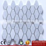 IMARK Long Hexagon Bianco Carrara White Marble Mosaic Backsplash Floor Tiles For Kicthen & Residental Interior Design                                                                         Quality Choice