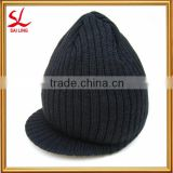 Custom Acrylic Knitted Hat Wholesale Winter Beanies Hats With Brim Acrylic Knitted Visor Beanie